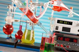 stock photo of chemical reaction  - Modern chemical laboratory - JPG