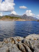 picture of lofoten  - Sea coast and mountains on the Lofoten Islands in Norway - JPG