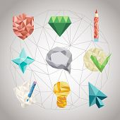 picture of triangular pyramids  - Abstract geometric Icon of shapes from triangular faces - JPG