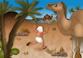 picture of biblical  - A cartoon biblical illustration showing Moses fleeing into the desert wilderness after it is discoverd that he killed an Egyptian - JPG