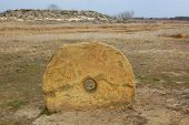 image of steppes  - Round megalytic stone in the steppe - JPG
