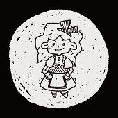 stock photo of alice wonderland  - Alice In Wonderland Doodle - JPG