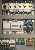 stock photo of contactor  - Electrical control cubicle with electrical devices closeup - JPG