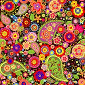 stock photo of hippy  - Colorful floral wallpaper with hippie symbolic - JPG