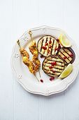 foto of aubergines  - Satay skewers with grilled aubergine and pomegranate seeds - JPG