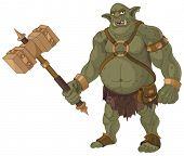 foto of troll  - Big fat troll with wood hammer - JPG