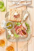 picture of smoked ham  - Sandwich with smoked ham grilled peaches and mozzarella - JPG