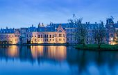 pic of prime-minister  - Twilight at Binnenhof palace place of Parliament in The Hague Netherlands - JPG