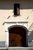 image of windows doors  - brown europe italy lombardy in the milano old window closed brick abstract grate door terrace - JPG
