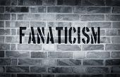 picture of isis  - Fanaticism stencil print on the grunge white brick wall - JPG