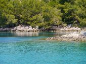 stock photo of luka  - The bay of luka Tiha at the Croatian island Hvar in the Adriatic sea - JPG