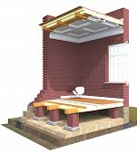 foto of girder  - Cross section of brick house - JPG