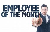 stock photo of employee month  - Business man pointing the text - JPG