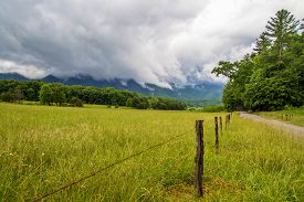 stock photo of smoky mountain  - Cades Cove meadow in the Great Smoky Mountains National Park with a mountain background shrouded in fog - JPG