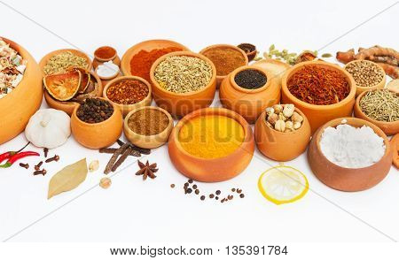 Постер, плакат: Spices And Herbs On White Background For Decorate Spices Content indian Spices In Terracotta Pots I, холст на подрамнике
