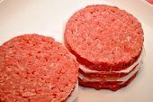 Stack of Raw Hamburgers
