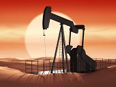 foto of fulcrum  - oil pump at sunset ecology problem concept - JPG