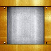 Постер, плакат: металлическая пластина с золотой рамкой