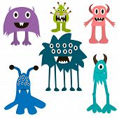 ������, ������: Cartoon Monsters Big Set Colorful Toy Monster Cute Monster Monster Flat Monster Alien Monster K