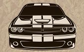 Постер, плакат: Muscle Car Abstract Sketch Old School 3