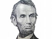 stock photo of twenty dollar bill  - portrait of Abraham Lincoln from an American Five Dollar Bill - JPG