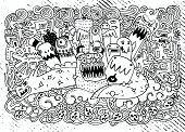 Постер, плакат: Vector Illustration Of Monsters And Cute Alien Friendly Cool Cute Hand drawn Monsters