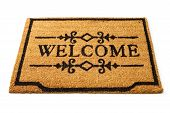 picture of flat-foot  - Image of a straw welcome mat  - JPG