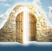 stock photo of heavens gate  - a ancient door - JPG