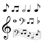 stock photo of clefs  - Various musical notes in black - JPG