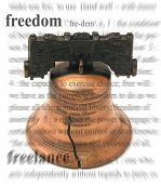 A photo of the freedom bell with a freedom theme
