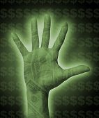 A photo of a hand with money overlay