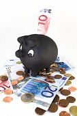 Piggy Bank With Bills And Coins