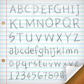 Fontes de escrita à mão no papel de linha única
