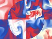 Us Flag Colors On Silk Background - Digital Illustration