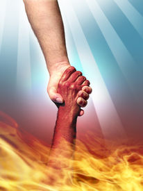 picture of holy-spirit  - god making a pact with the devil shaking hands - JPG