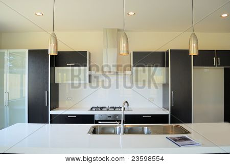 Постер, плакат: современная дизайнерская кухня, холст на подрамнике