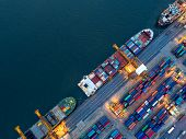 Aerial View Of Business Port With Shore Crane Loading Container In Container Ship In Import/export A poster
