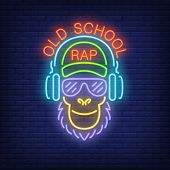 Old School Rap Neon Text And Cool Monkey In Glasses And Headphones. Neon Sign, Night Bright Advertis poster