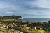 Montenegro Landscape With Sutomore Town And Adriatic Sea Shore. Summer Seashore Panoramic View. Mont poster