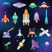 Rocket Vector Spaceship Or Spacecraft With Satellite And Spacy Ufo Illustration Set Of Spaced Ship O poster