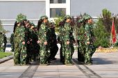 Students doing  military training