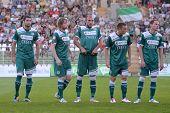 KAPOSVAR, HUNGARY - SEPTEMBER 10: Gyor players before a Hungarian National Championship soccer game