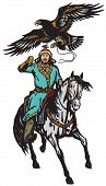 Eagle Hunter On A Horse . Asian Horseman Sitting On A Pony Horseback And Golden Eagle In Flight .iso poster