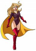 Full Length Illustration Of A Determined And Powerful Superheroine Wearing Yellow Cape While Flying  poster