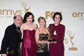 LOS ANGELES - SEP 18: Matthew Weiner, Elizabeth McGovern, Joanne Froggatt, Michelle Dockery in the P