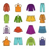 Clothes Icon Set. Color Outline Set Of Clothes Vector Icons For Web Design Isolated On White Backgro poster