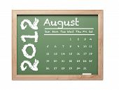 Month of August 2012 Calendar on Green Chalkboard Over White Background.