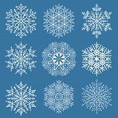Set Of Vector Snowflakes. White Winter Ornaments. Snowflakes Collection. Snowflakes For Backgrounds  poster