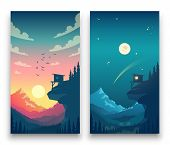Day And Night Flat Vector Mountain Landscape With Moon, Sun And Clouds In Sky. Vector Concept For We poster