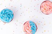 Cupcake Red Velvet With Blue And Pink Whipped Cream Decorated With Colorful Sprinkles On White Backg poster